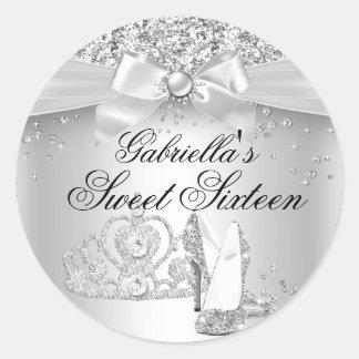 Sparkle Tiara & Heels Silver Sweet 16 Sticker