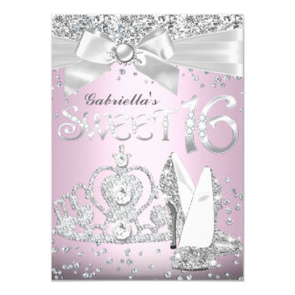 Sparkle Tiara & Heels Sweet 16 Invite Light Pink