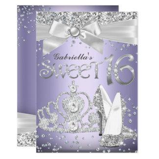 Sparkle Tiara & Heels Sweet 16 Invite Purple