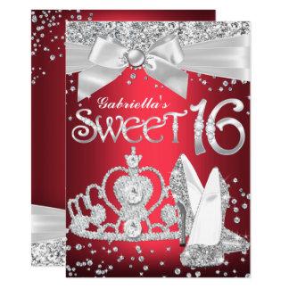 Sparkle Tiara & Heels Sweet 16 Invite Red