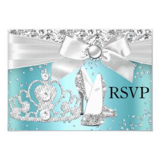 Sparkle Tiara & Heels Teal Sweet 16 RSVP 3.5x5 Paper Invitation Card