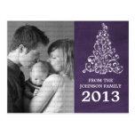 Sparkle Tree Chalkboard Photo Postcard, Purple