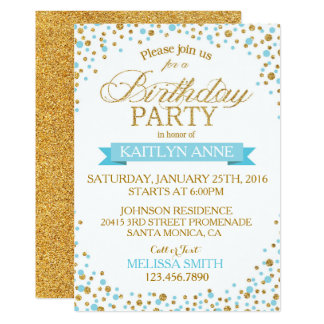 Sparkle Turquoise and Gold Glitter Dots Birthday Card