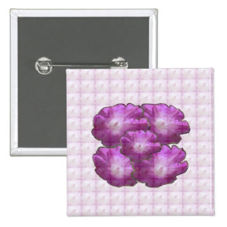 Sparkle White n Pink Flower Bouquet Gift Greetings Button