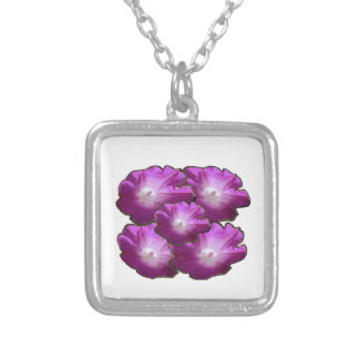 Sparkle White n Pink Flower Bouquet Gift Greetings Silver Plated Necklace
