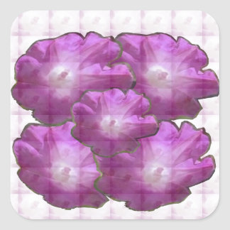 Sparkle White n Pink Flower Bouquet Gift Greetings Square Sticker