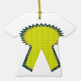 Sparkle Yellow Gold RIBBON Award NVN283 Guest ID Christmas Ornament