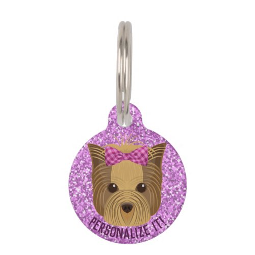 Sparkle Yorkie Yorkshire Terrier Puppy Dog Glitter Pet ID Tag