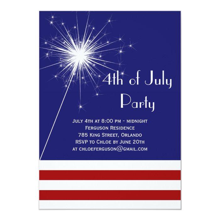Sparkler 4th of July Party Invitation   Zazzle