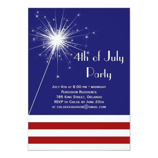 Sparkler 4to de la invitación del fiesta de julio