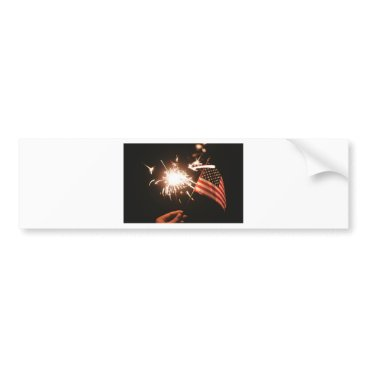 USA Themed Sparkler & Flag Bumper Sticker