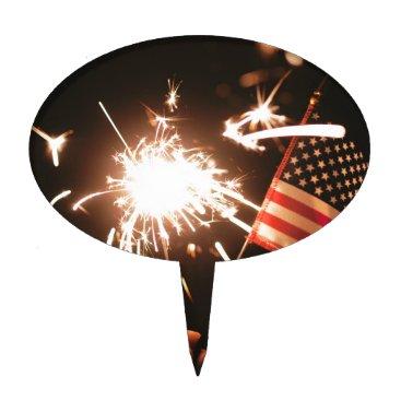 USA Themed Sparkler & Flag Cake Topper