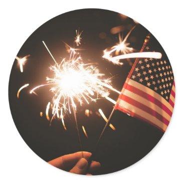 USA Themed Sparkler & Flag Classic Round Sticker