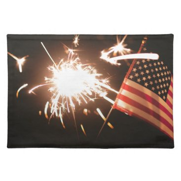 USA Themed Sparkler & Flag Cloth Placemat