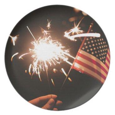 USA Themed Sparkler & Flag Dinner Plate