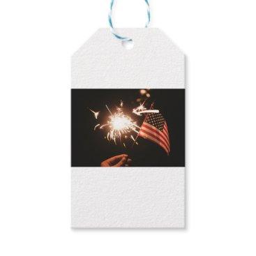 USA Themed Sparkler & Flag Gift Tags