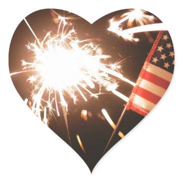 USA Themed Sparkler & Flag Heart Sticker