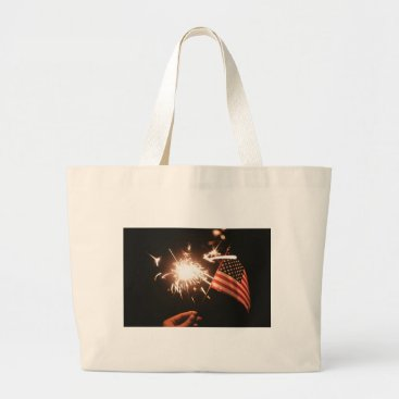 USA Themed Sparkler & Flag Large Tote Bag