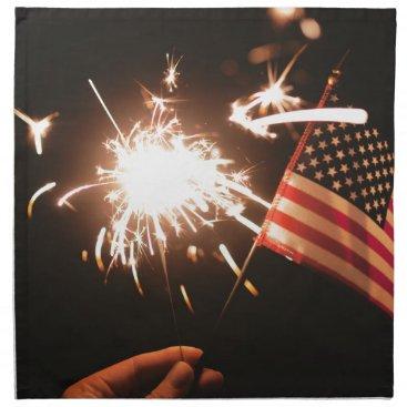 USA Themed Sparkler & Flag Napkin