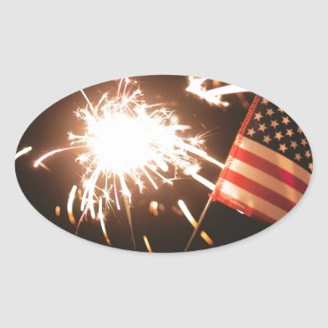 USA Themed Sparkler & Flag Oval Sticker