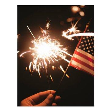 giftsnerd Sparkler & Flag Postcard