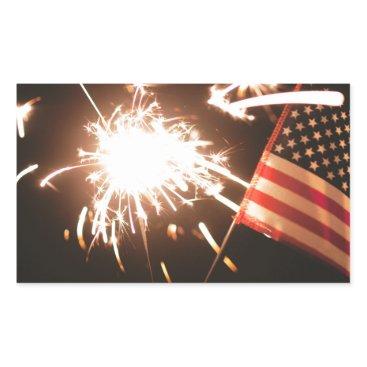 USA Themed Sparkler & Flag Rectangular Sticker