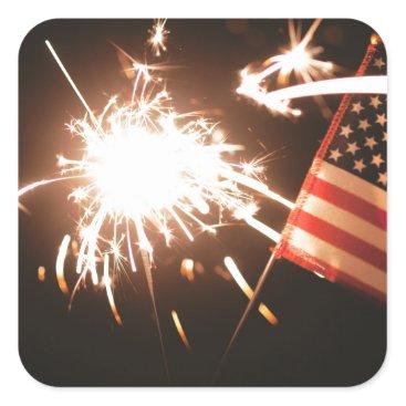 USA Themed Sparkler & Flag Square Sticker