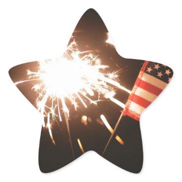 USA Themed Sparkler & Flag Star Sticker