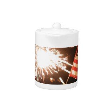 USA Themed Sparkler & Flag Teapot