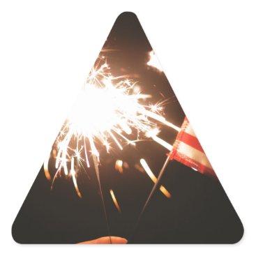 USA Themed Sparkler & Flag Triangle Sticker
