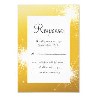 Sparkler Gold Wedding RSVP 3.5x5 Paper Invitation Card