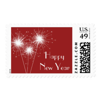 Sparkler Happy New Year Stamp (red)