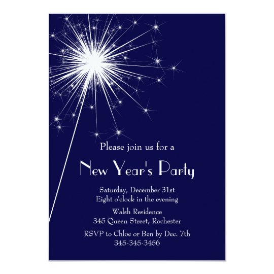 Sparkler New Year's Eve Party Invitation