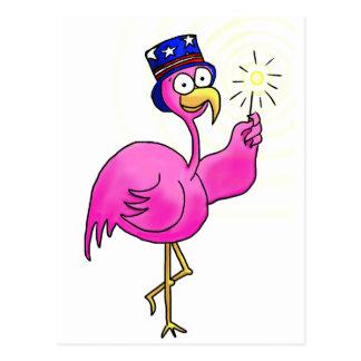 Sparkler patriótico rosado del gorra del flamenco postal