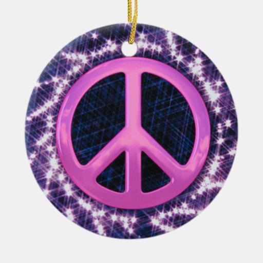 Sparkler Pink Peace Sign Ornament