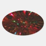 Sparkler rojo pegatina ovalada