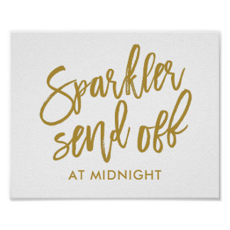 Sparkler Send-off Sign-EDITABLE COLOR -Calligraphy Poster