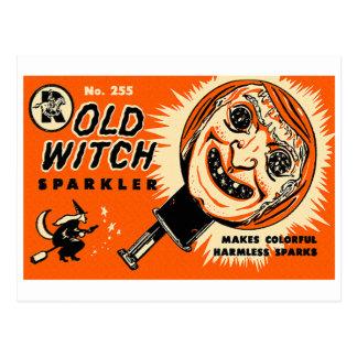 Sparkler viejo de la bruja del kitsch retro del tarjetas postales