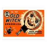 Sparkler viejo de la bruja del kitsch retro del vi postales