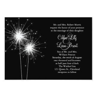 Sparkler Wedding Invitation (black)