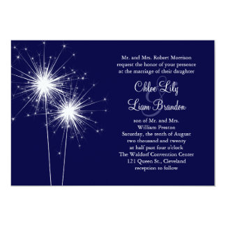 Sparkler Wedding Invitation in Blue
