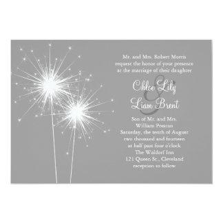 Sparkler Wedding Invitation in Gray
