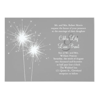 "Sparkler Wedding Invitation in Gray 5"" X 7"" Invitation Card"