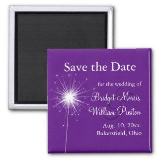 Sparkler Wedding  Purple Save the Date Magnet