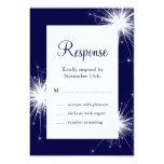 Sparkler Wedding RSVP (blue) Card