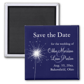 Sparkler Wedding Save the Date in Blue Fridge Magnets