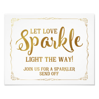 sparkler wedding sign gold
