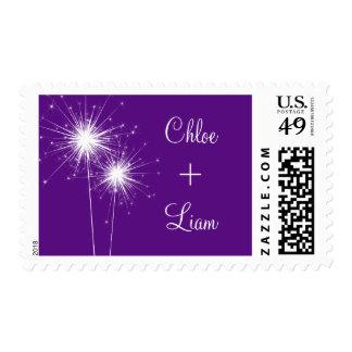 Sparkler Wedding Stamp (purple)
