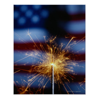 Sparkler with American Flag Poster