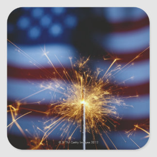 Sparkler with American Flag Square Sticker